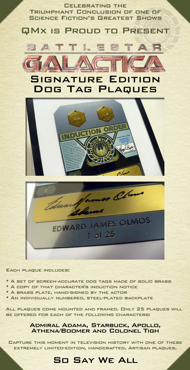 Attention Collectors: BSG Signature Dog Tag Plaques from QMx