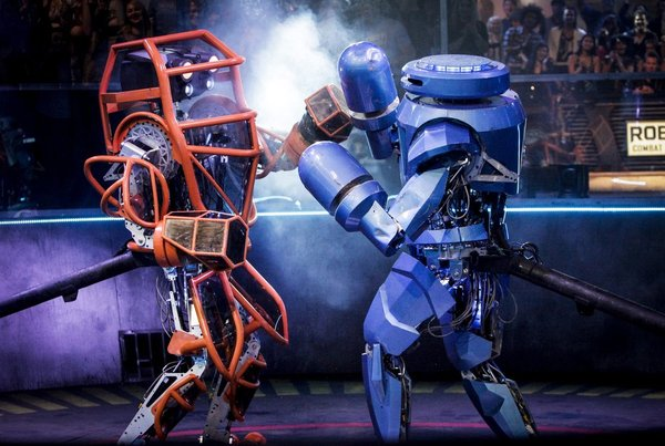 "ROBOT COMBAT LEAGUE -- ""Fight Night 1"" -- Pictured: (l-r) Crash, SteelCyclone -- (Photo by: Nicole Wilder/Syfy) Airdate: Tuesdays on Syfy (10-11 p.m. ET) © NBC Universal, Inc."