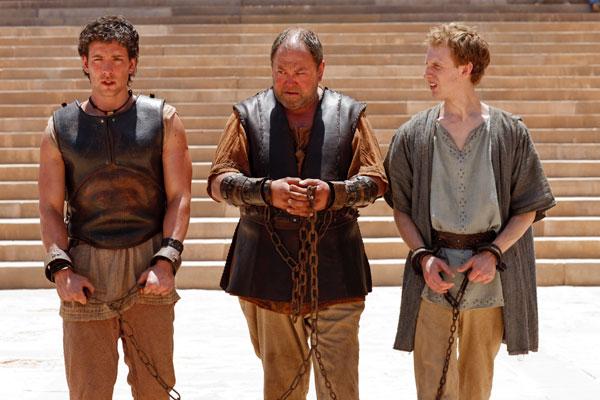 Atlantis, Season 1, Episode 3, Jason (Jack Donnelly), Hercules (Mark Addy) and Pythagoras (Robert Emms) (Photo Credit: © Nick Briggs, BBC AMERICA)