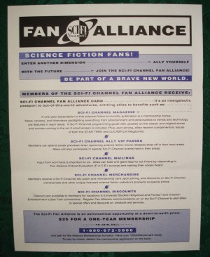 Sci-Fi Channel Fan Alliance flyer