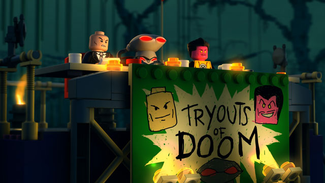 "LEGO DC Super Heroes: ""Justice League: Attack of the Legion of Doom"" Lex Luthor, Sinestro and Black Manta judge the villainous talent tryouts"
