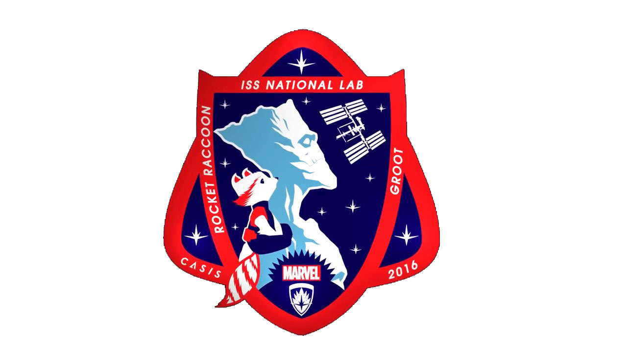 2016 ISS CASIS Mission Patch features Rocket and Groot Marvel Custom Solutions New Mission Patch for U.S. National Laboratory