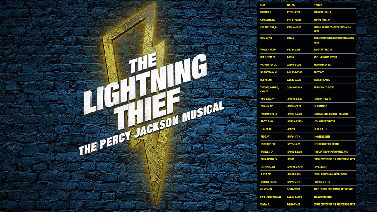 """""""The Lightning Thief: The Percy Jackson Musical"""" now on tour See the stunning Broadway hit in a theatre near you"""